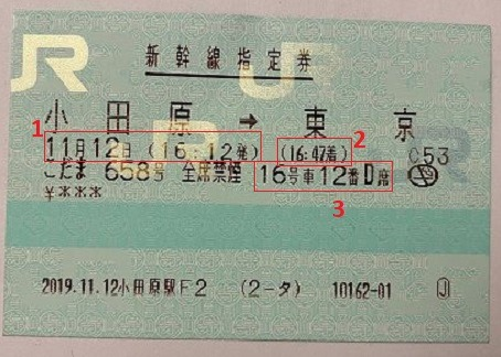Seat reservation ticket in Japanese