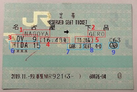 Seat reservation ticket for one train