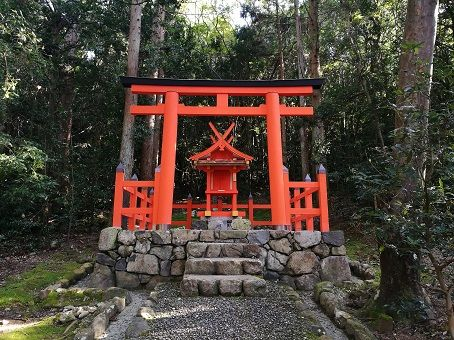 Red Shinto shrine, part of the Fushimi Inari shrine in Kyoto