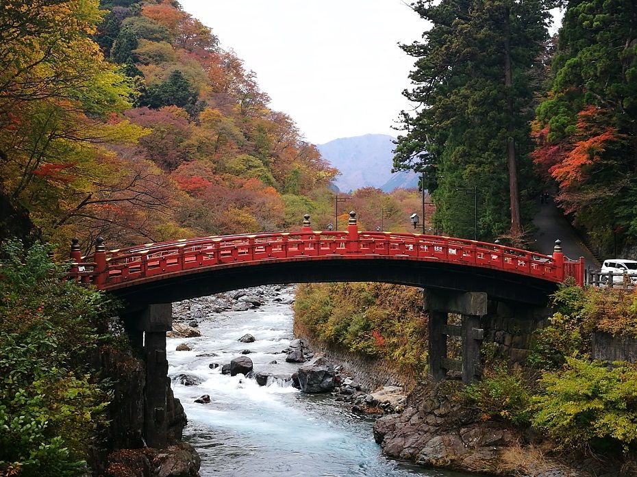 Red bridge over a river in Japan