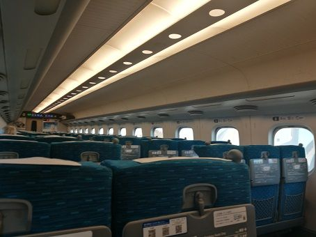Inside of a bullet train