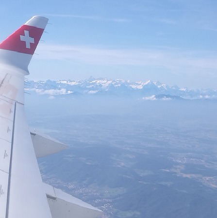 Airplane view of the Swiss Alps
