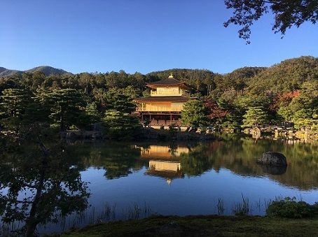 Autumn view of the Golden Temple in Kyoto