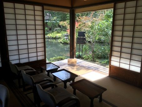 Inside view of a tea house, in a traditional Japanese garden. A perfect place for a tea ceremony performed by a geisha or maiko