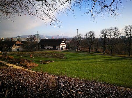 Morning view of Merian garden in Basel, Switzerland