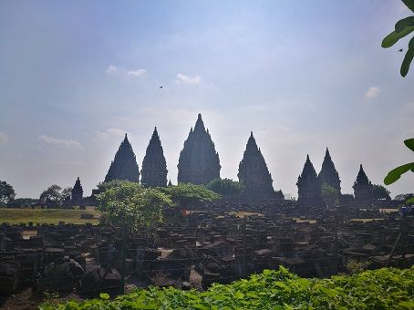 Panoramic view of the Prambanan temple in Yogyakarta