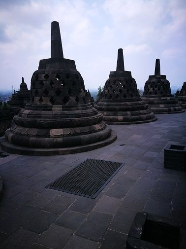 Three stupas in Borobudur temple, Indonesia