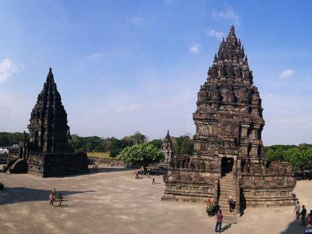 Two Prambanan temples in Yogyakarta, Indonesia