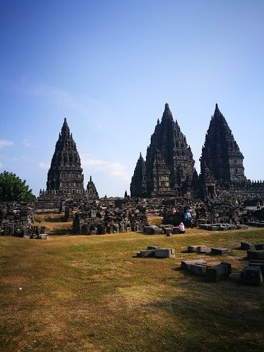 Distant view of Prambanan temples
