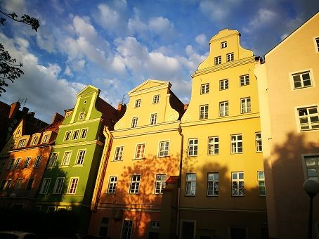 Beautiful colored buildings in Wroclaw, Poland