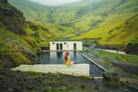 Seljavallalaug swismming pool with beautiful scenery