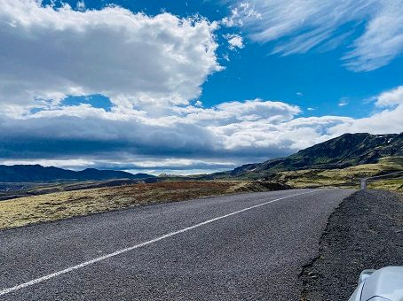 View of the main road in Iceland