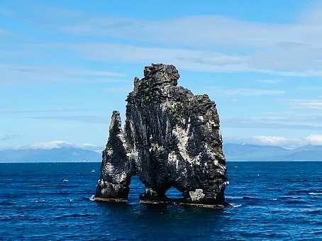 Rhino shaped rock in the sea