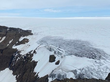 The top of the glacier - a view from the snowmobile trip