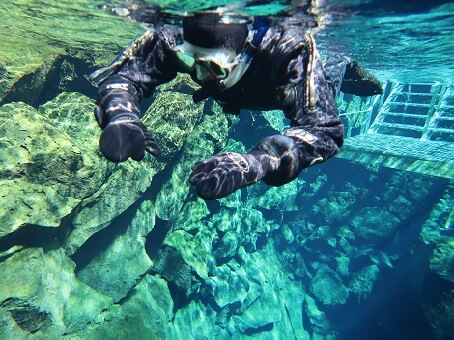 Starting point when snorkeling in SIlfra, Iceland