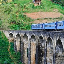 Train crossing a bridge in India